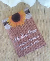 sunflower seed packets sunflowers on burlap and lace seed packets favor universe