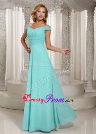 blue off shoulder prom bridesmaid dress with beading ruches