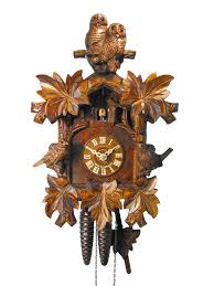 Blue Cuckoo Clock Carved 1 Day Owl U0026 Sparrow Cuckoo Clock 33cm By August Schwer