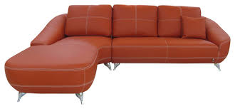 orange lucy leather sectional sofa contemporary sectional
