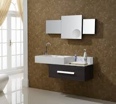 bathroom brown wall design ideas with frameless mirror and home