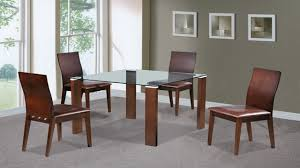 beech walnut glass dining table and 4 chairs homegenies