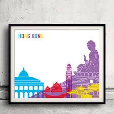 hong kong pop art skyline fine art print glicee poster decor