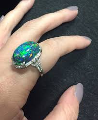 black opal fine art deco platinum black opal and diamond ring sale number