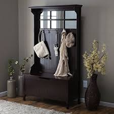 espresso entryway tree with mirror coat hooks and