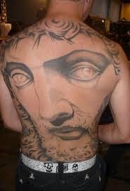 tattoo back face huge jesus face tattoo on back