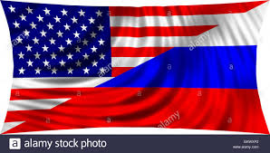 american and russian flags together waving in wind isolated on