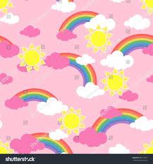 Wallpaper Children Seamless Pattern Sun Clouds Rainbow Wallpaper Stock Vector