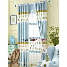 Leaf Design Curtains Decorative Blue Curtain Embroidered Gold Leaf Pattern Kids