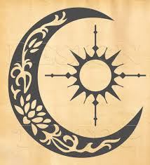 sun compass crescent moon svg dxf png eps cdr silhouette