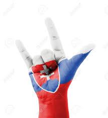 Slovak Flag Hand Making I Love You Sign Slovakia Flag Painted Multi Purpose