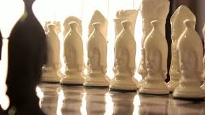 Futuristic Chess Set Ceramic Chess Set Opposing White Pull Focus Free Stock Video