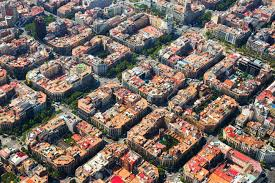 barcelona city view aerial view of residence districts in european city eixle