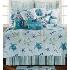 coastal theme bedding p this coastal theme quilt features sea turtles seahorses