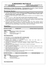 Project Manager Job Description For Resume Mohamed Muthalif Instrument U0026 Control Engineer Resume