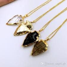 small stone necklace images Wholesale crystal arrowhead arrow head pendant charms small gold jpg