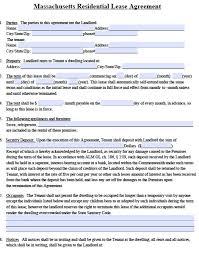 free massachusetts standard residential lease agreement form u2013 pdf