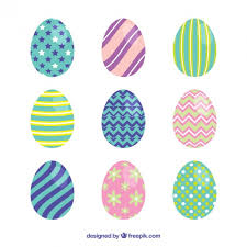 easter eggs with geometric ornaments vector free
