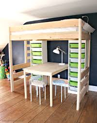 bedroom unfinished birch wood loft bunk bed with cabinet shelf