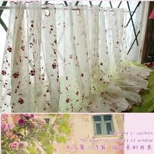 Sunflower Kitchen Curtain by Aliexpress Com Buy White Sheer Curtain Embroidery Sunflower
