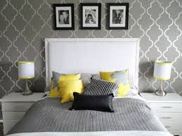 bedroom chic bedroom idea with geometric wallpaper for