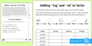 year 1 spelling practice sheet adding u0027 ing u0027 and u0027 ed u0027 to verbs