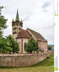 saint georges church in chatenois alsace france royalty free