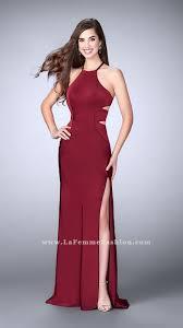 2017 burgundy la femme 24380 two piece open back party dresses for