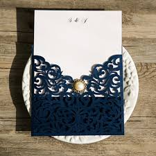 navy blue wedding invitations navy blue laser cut pearl wedding invitations iwsm039 wedding