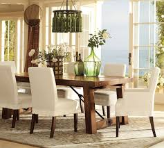 White Parsons Dining Table Decorating Pottery Barn Dining Room With Rustic Dining Table And