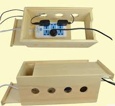 simple wood storage box wooden power source storage box wire