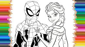 spiderman u0026 frozen elsa disney coloring page lcoloring book fun