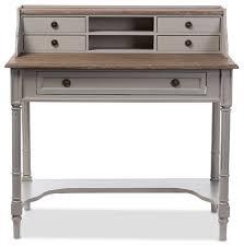 edouard distressed two tone writing desk white and light brown farmhouse desks