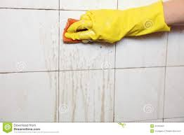 cleaning of dirty old tiles in a bathroom stock photo image