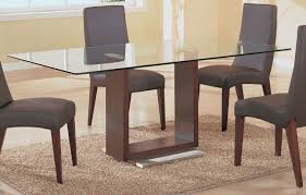 Glass And Wood Dining Tables Simple Rectangle Glass Top Dining Tables With Wood Base And
