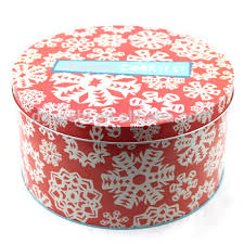 christmas favors bulk round metal tin box for cookie chocolate