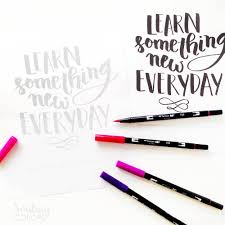 free brush lettering printable learn something new smitha katti