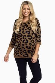 brown cheetah print maternity sweater