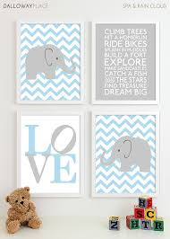 Baby Boy Nursery Art Chevron Elephant Nursery Prints Kids
