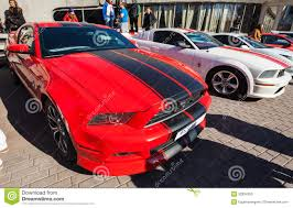 Black Mustang With Red Stripes Red Ford Mustang With Black Stripes Stands Parked Editorial Stock