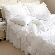 White Cotton Bed Linen - luxury white lace ruffle bedding sets twin full queen king size