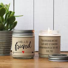 personalized candle hello friend personalized candle gift