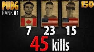 pubg rankings pubg rank 1 shroud just9n chad 45 kills na squad fpp