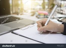 Office Desk Close Up Writing Desk Female Hands Pen Writing Stock Photo 410804098