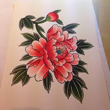 Japanese Flowers Paintings - painting for a t shirt blackgardentattoo illustrations