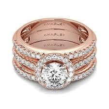 white gold bridal sets 3 pc gold cut white cz halo bridal set wedding ring set