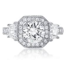 cz engagement ring 2 15 ctw fancy octagon halo cz engagement ring jewelure