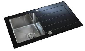 Black Glass Kitchen Sinks Reversible Black Glass Stainless Steel Inset Kitchen Sink La012