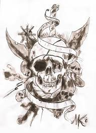 skull ribbon cool black ink pirate skull with ribbon tattoo design
