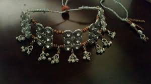 necklace making set images Oxidized silver choker necklace and earring set jewelry making jpg